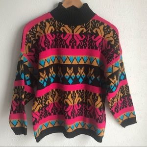 Vintage 80s Croquet Club Sweater Sz M Geo print